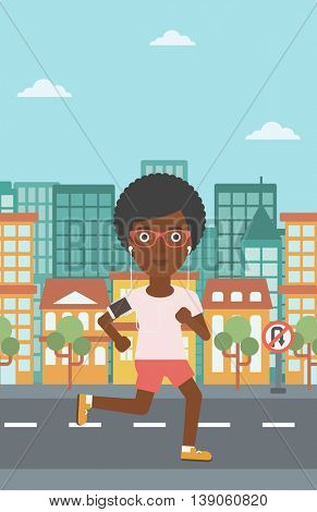 An african-american woman running with earphones and armband for smartphone. Woman listening to music during running. Woman running in the city. Vector flat design illustration. Vertical layout.