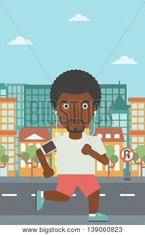 An african-american man running with earphones and armband for smartphone. Man listening to music during running. Man running on a city background. Vector flat design illustration. Vertical layout.