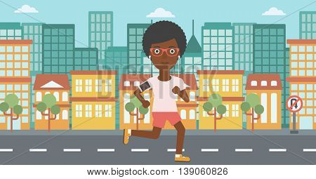 An african-american woman running with earphones and armband for smartphone. Woman listening to music during running. Woman running in the city. Vector flat design illustration. Horizontal layout.