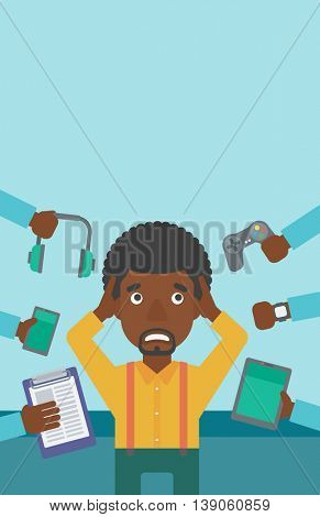 An african-american man in despair and many hands with gadgets around him. Young man surrounded with gadgets. Man using many electronic gadgets. Vector flat design illustration. Vertical layout.