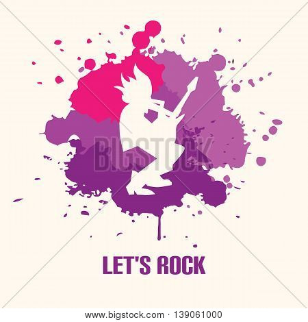 Silhouette of guitarist playing the guitar solo on bright background vector illustration