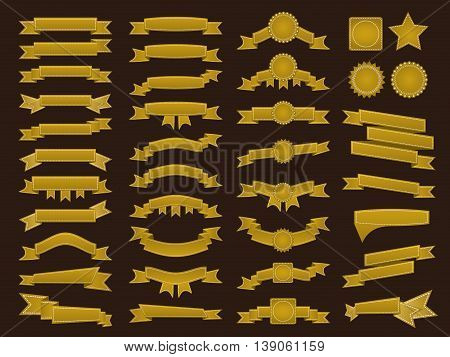 Big Set Of Embroidered Golden Ribbons And Stumps On Brown Background. Can Be Used For Banner, Award,