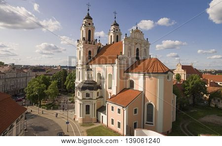 AERIAL. Beautiful sunny shot of St. Catherine (Kotrynos) church in Vilnius capital of Lithuania