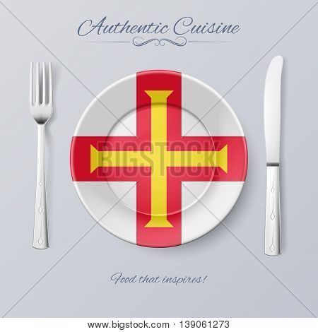 Authentic Cuisine of Guernsey. Plate with Flag and Cutlery