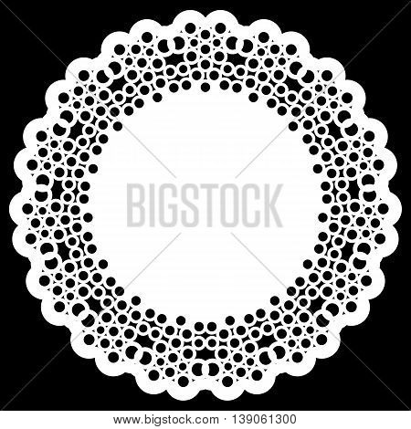 Lace round paper doily lacy snowflake greeting element template for cutting vector illustrations