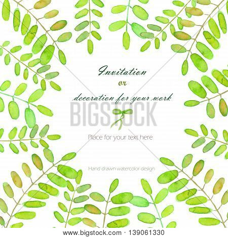 Background, template postcard with the acacia tree branches, hand drawn on a white background, background for your card and work