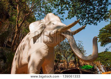 Statue White Elephant. Myanmar. Burma.