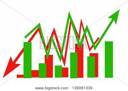 Sign arrow - graph on a white background . The concept of change in market prices
