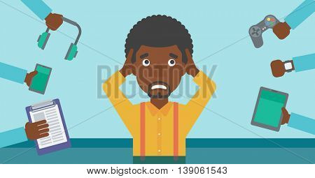 An african-american man in despair and many hands with gadgets around him. Young man surrounded with gadgets. Man using many electronic gadgets. Vector flat design illustration. Horizontal layout.