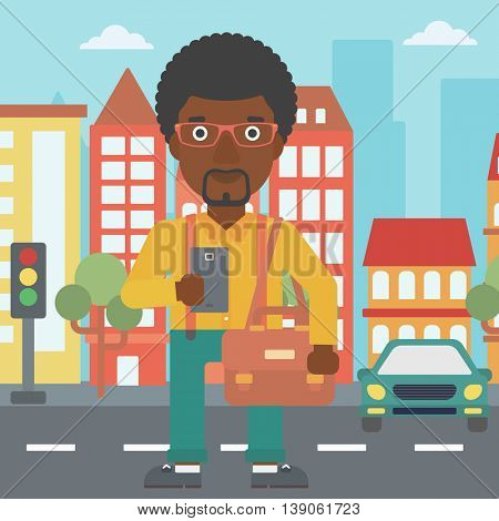 An african-american man using a smartphone. Businessman with briefcase working with smartphone on a city background. Vector flat design illustration. Square layout.
