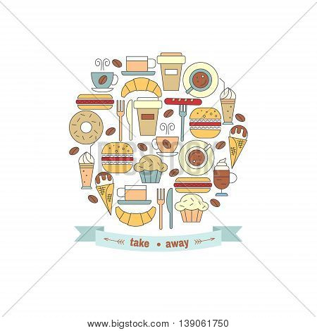 Fast food in circle shape and a ribbon with place for your text. Vector illustration.