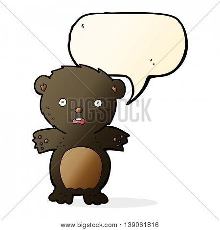 frightened black bear cartoon with speech bubble