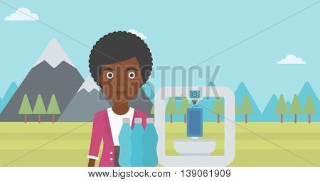African-american woman standing near three D printer on the background of mountains. 3D printer making a smartphone using recycled plastic bottles. Vector flat design illustration. Horizontal layout.
