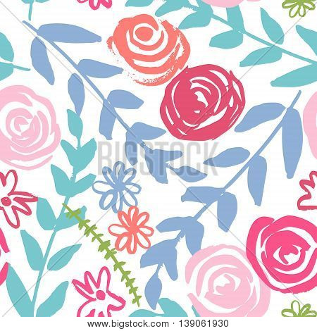 Seamless pattern with abstract flowers. Cute hand-painted with a brush and ink flowers. Background for your design. Vektor illustration.