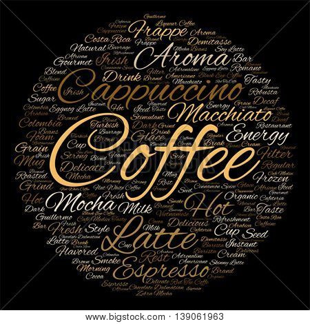 Vector concept conceptual creative hot coffee, cappuccino or espresso abstract round word cloud isolated on background metaphor to morning, restaurant, italian, beverage, cafeteria, break energy taste