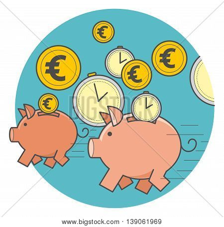 Vector illustration of style flat linear design: fast money, running a pig piggy bank with coins and time.