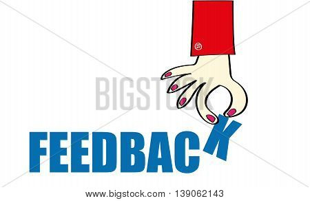 Female hand lowering the last letter of the word Feedback in blue text on a white background with copy space