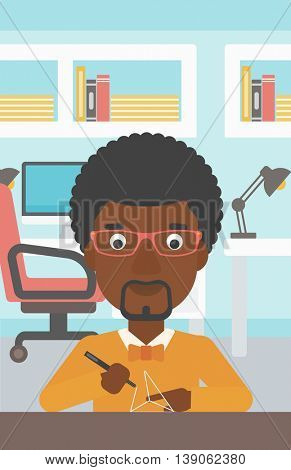 An african-american man making a model with a 3D pen. Man drawing geometric shape by 3d pen. Man working with a 3d-pen. Vector flat design illustration. Vertical layout.