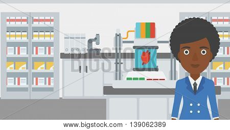 An african-american woman with 3D printer making a heart on the background of laboratory. Woman working with 3D printer. Vector flat design illustration. Horizontal layout.
