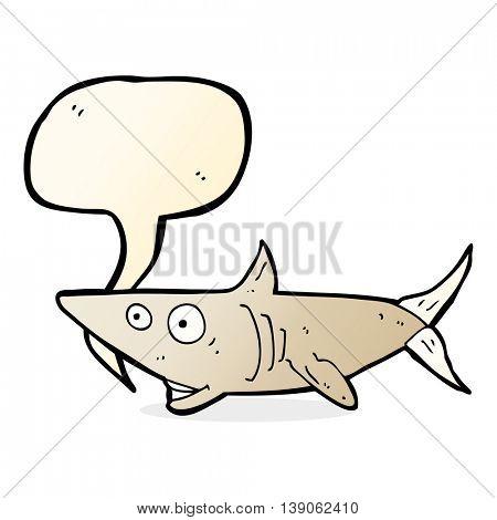 cartoon happy shark with speech bubble