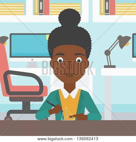 An african-american woman  making a model with a 3D pen. Woman drawing geometric shape by 3d pen. Engineer working with a 3 dimensional pen. Vector flat design illustration. Square layout.