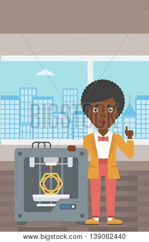 An african-american woman standing near tree D printer and pointing forefinger up. Engineer using 3D printer. Woman working with 3D printer. Vector flat design illustration. Vertical layout.