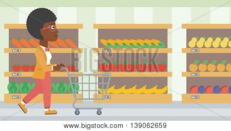 African-american woman pushing empty supermarket cart. Woman shopping at supermarket with cart. Woman walking with trolley on aisle at supermarket. Vector flat design illustration. Horizontal layout.