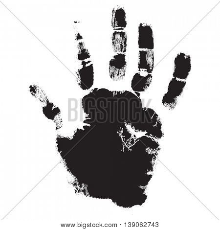 Vector concept or conceptual cute paint human hand or handprint of child isolated on white background for art, childhood, fun, happy, infant, symbol, kid, identity, education, school, little or young