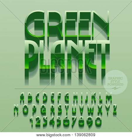 Set of glossy green alphabet letters, numbers and punctuation symbols. Vector reflective icon with text Green planet for ecology activity. File contains graphic styles