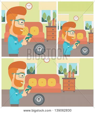 Young hipster with the beard man controlling robotic vacuum cleaner with his smartphone in the living room. Vector flat design illustration. Square, horizontal, vertical layouts.