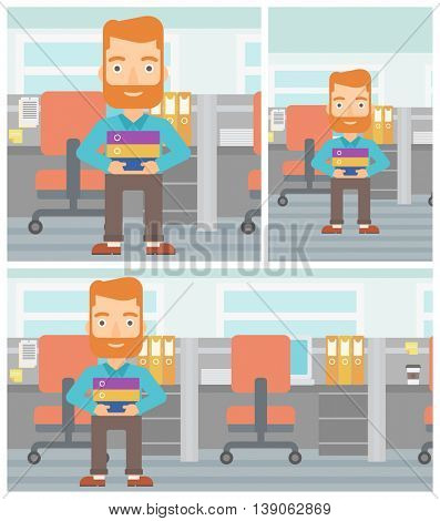 Hipster businessman with the beard standing with pile of folders in the office. Young businessman carrying a stack of folders. Vector flat design illustration. Square, horizontal, vertical layouts.