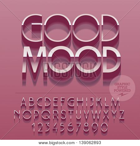 Set of glossy silver alphabet letters, numbers and punctuation symbols. Vector reflective pink card with text Good mood. File contains graphic styles