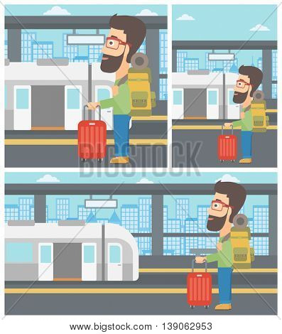 Man standing at the train station on the background of train with open doors. Young man with suitcase waiting for a train. Vector flat design illustration. Square, horizontal, vertical layouts.