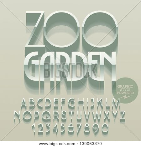 Set of glossy silver alphabet letters, numbers and punctuation symbols. Vector reflective emblem with text Zoo garden. File contains graphic styles