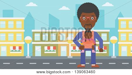 An african-american father carrying daughter in sling. Father with baby in sling walking in the city street. Young father carrying newborn in sling. Vector flat design illustration. Horizontal layout.