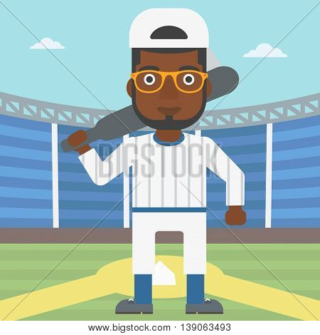 An african-american baseball player with the beard standing on a baseball stadium. Professional baseball player with a bat on his shoulder. Vector flat design illustration. Square layout.