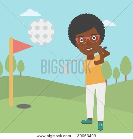 An african-american female golfer hitting the ball. Professional female golfer on golf course. Young woman playing golf. Vector flat design illustration. Square layout.