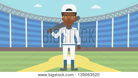 An african-american female baseball player standing on a baseball stadium. Female professional baseball player holding a bat on baseball field. Vector flat design illustration. Horizontal layout.
