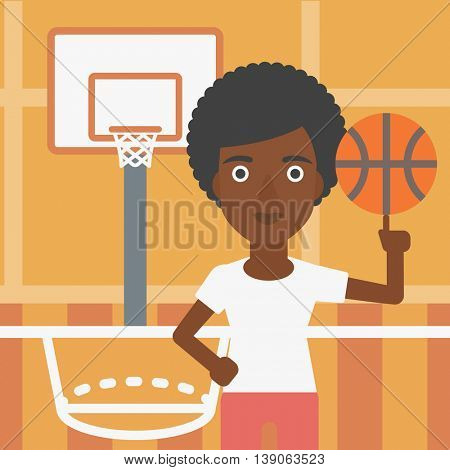 An african-american sportswoman spinning basketball ball on her finger. Young basketball player standing on the basketball court. Vector flat design illustration. Square layout.