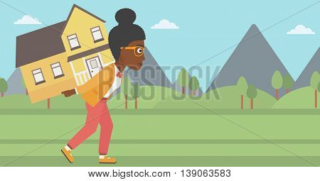 An african-american young woman carrying a big house on her back on the background of mountains. Vector flat design illustration. Horizontal layout.