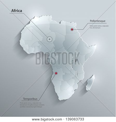 Africa political map flag glass card paper 3D vector individual states separate