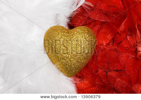 Heart Over White And Red Feathers Background
