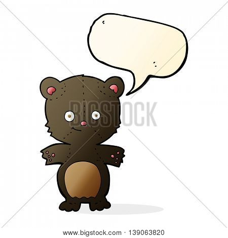 cartoon black bear cub with speech bubble