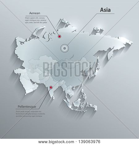 Asia political map glass card paper 3D vector individual states separate