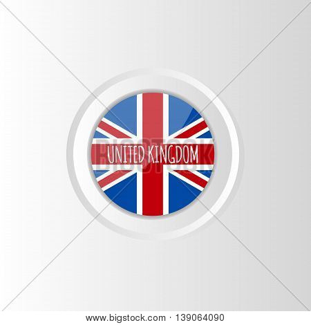 Vector circle colorful bright flag of United Kingdom on gradient background