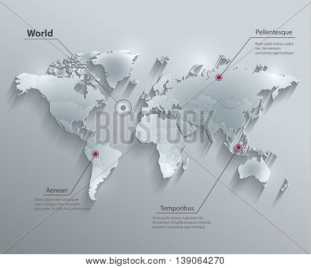 World political map glass card paper 3D vector individual states separate
