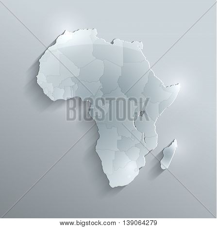 Africa political map flag glass card paper 3D raster individual states separate