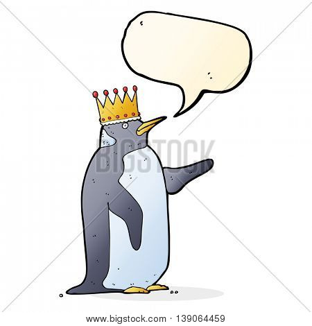 cartoon penguin wearing crown with speech bubble