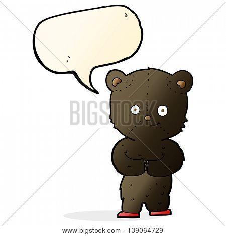 cartoon teddy black bear cub with speech bubble