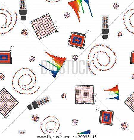 Vector seamless technical pattern with fluorescent, LED and tape lamps on white background